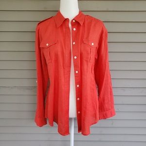 Chico's Orange Linen Blend Button Down Top Size 2